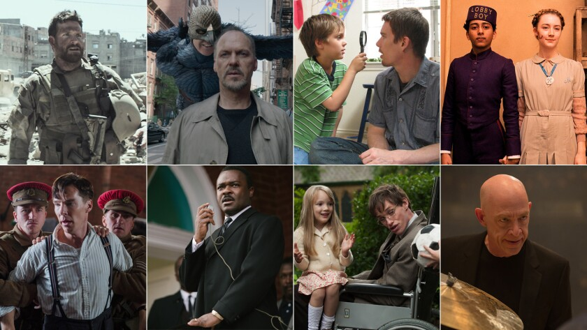 """The complete list of nominees for the 2015 Oscars includes best picture nominees """"American Sniper,"""" """"Birdman,"""" """"Boyhood,"""" """"The Grand Budapest Hotel,"""" """"The Imitation Game,"""" """"Selma,"""" """"The Theory of Everything"""" and """"Whiplash."""""""