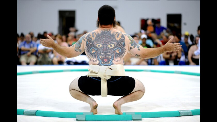USA middleweight contender Miguel del Gallego gets ready for his bout in the 2015 U.S. Sumo Open Saturday in Long Beach.