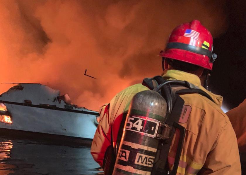 Fire on the boat off Santa Cruz Island.