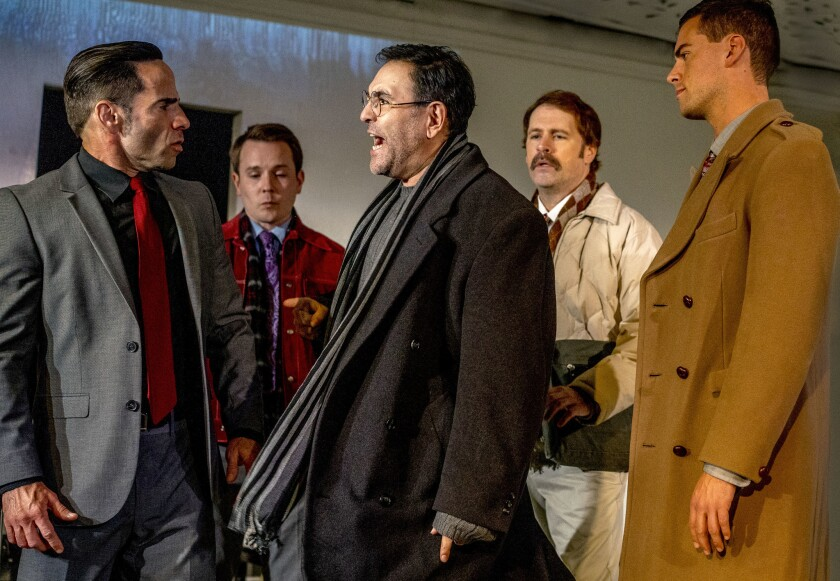"""Fred Hunting. Stewert Calhoun, Claudio Raygoza, Michael Lundy and Joel Miller (left to right) in Ion Theatre's """"The Normal Heart."""""""
