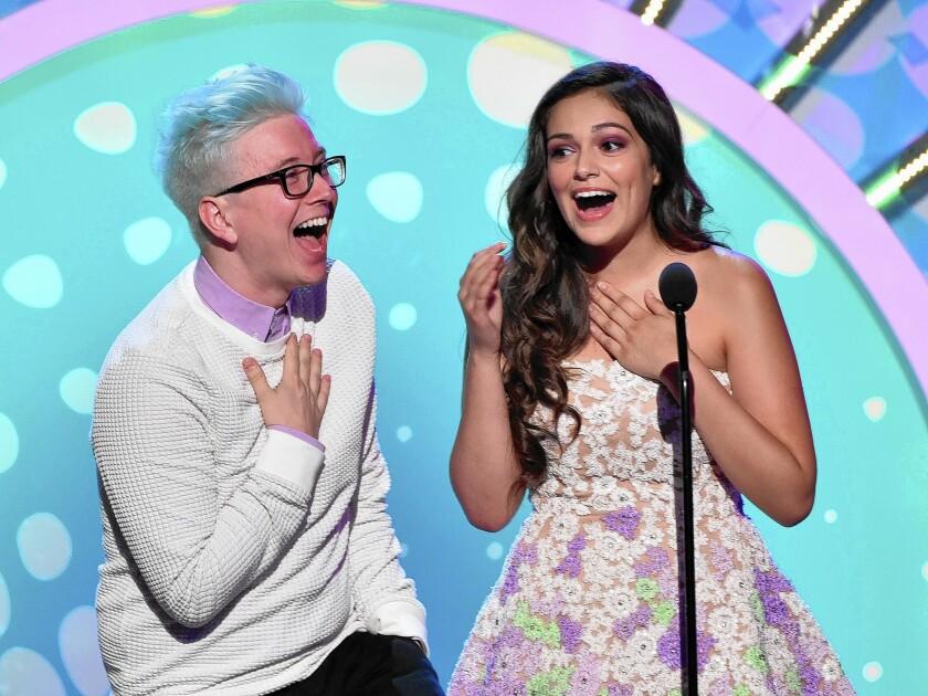 Tyler Oakley and Bethany Mota at the 2014 Teen Choice Awards.