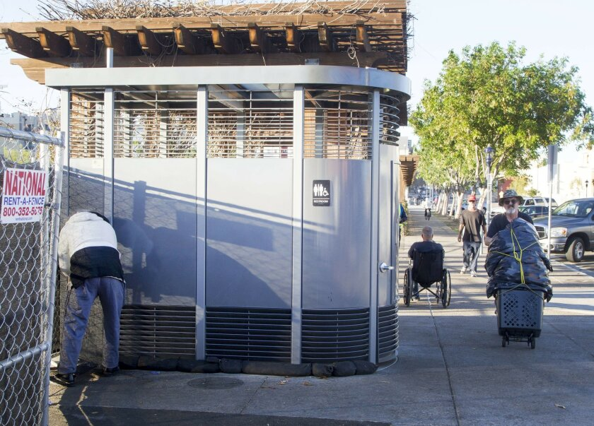 In downtown San Diego at 14th Street and L a Porltand Loo has been put in.  The Portland Loo is a freestanding bathroom.  Crime has sprung up with the Portland Loo.
