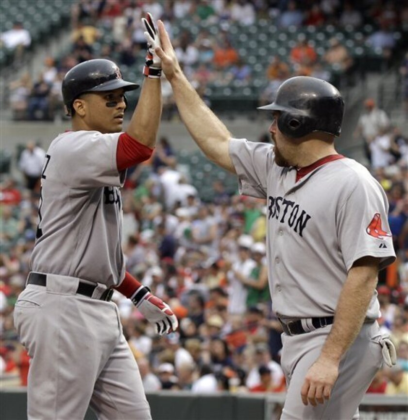 Boston Red Sox Victor Martinez, left, celebrates his two RBI home run against the Baltimore Orioles with teammate Kevin Youkilis, right, during the second inning of a baseball game, Sunday, June 6, 2010, in Baltimore. (AP Photo/Rob Carr)