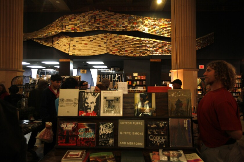 Bookshop.org earned more than $1 million that it will distribute to struggling indie bookshops such as the Last Bookstore in downtown Los Angeles, pictured.