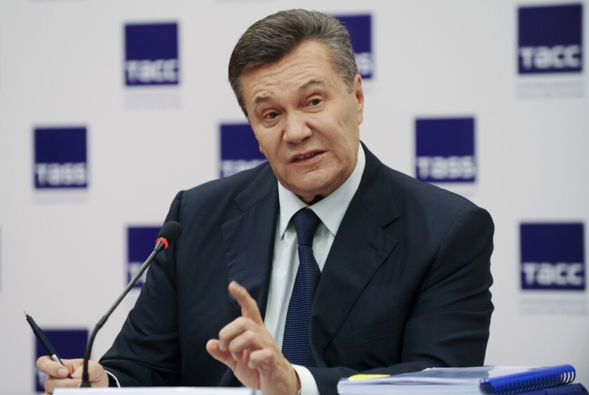 Ukraine's ousted president Viktor Yanukovych speaks at a news conference in Rostov-on-Don, Russia on Nov. 25, 2016.