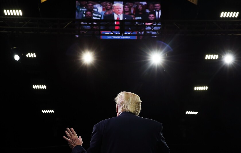 Presumptive Republican presidential candidate Donald Trump speaks at a rally in Fresno in May.