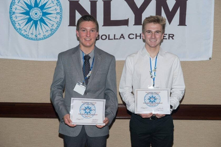 The Helmsman Award (presented to a young man in each grade level who has combined a good balance of philanthropy, leadership and protocol activities during his year in NLYM as voted by his peers) went to James Irwin, Class of 2017 (right), Mason Matalon, Class of 2018 (left) and Thomas Evans, Class of 2019 (not pictured).