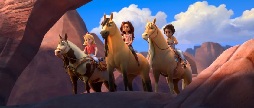 A CGI-animated image of a girls on horses
