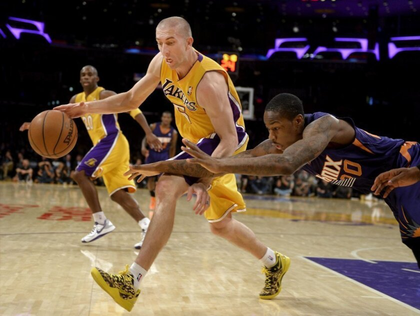 Lakers' Steve Blake tries to evade Phoenix Suns' Archie Goodwin on Dec. 10.