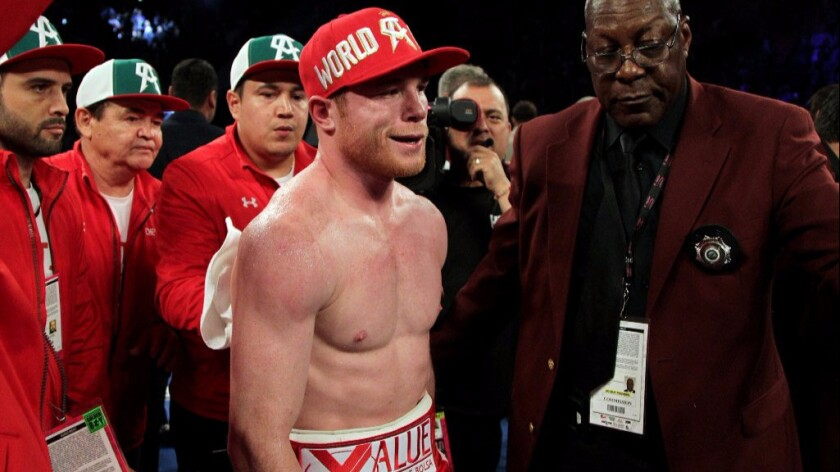 "Saul ""Canelo"" Alvarez smiles after his knockout victory over Amir Khan in Las Vegas on May 7."