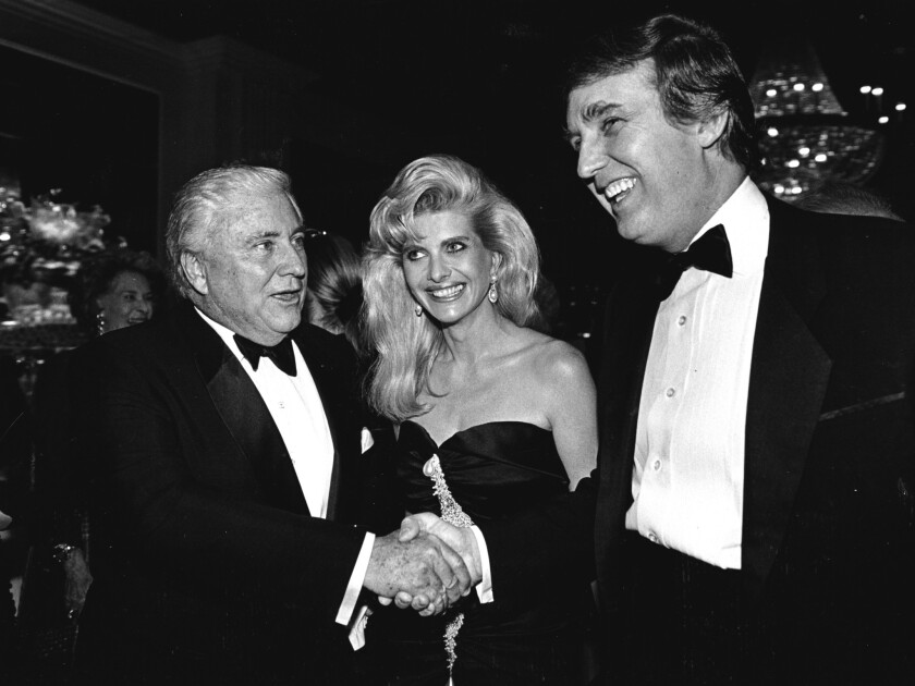 Donald and Ivana Trump, with Merv Griffin in 1990