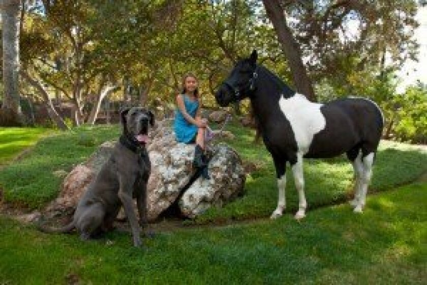 Vivica Chang, 6, sits with her dog, Bond, and her pony, Cherry. Courtesy photo