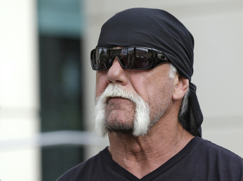 Reality TV star and former pro wrestler Hulk Hogan, whose real name is Terry Bollea, was on the receiving end of a Gawker scoop. The New York-based website published a tape of Hogan having sex with his then-best friend's wife. He is currently suing the site. Above, Hogan looks on as his attorney speaks during a 2012 news at the United States Courthouse in Tampa, Fla.