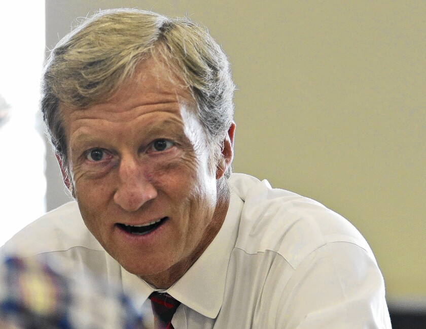 Tom Steyer contends that granting Keystone XL a permit would lead to a boom in oil sands development and worsen climate change.