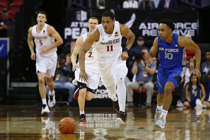 SDSU's Matt Mitchell drives down court after a steal against Air Force in the Mountain West tournament.