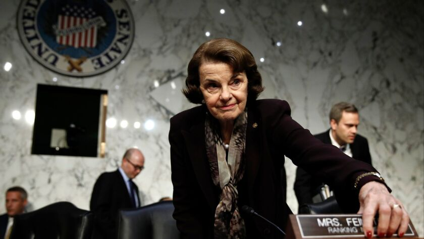 Sen. Dianne Feinstein arrives for a hearing on Capitol Hill in December. As of this week, no well-known Republican has announced a challenge to her reelection in November.