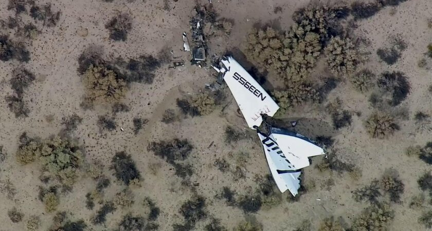This image from video by KABC-TV Los Angeles shows wreckage of SpaceShipTwo in Southern California's Mojave Desert on Friday, Oct. 31, 2014. A Virgin Galactic space tourism rocket exploded after taking off on a test flight, a witness said Friday. (AP Photo/KABC-TV)