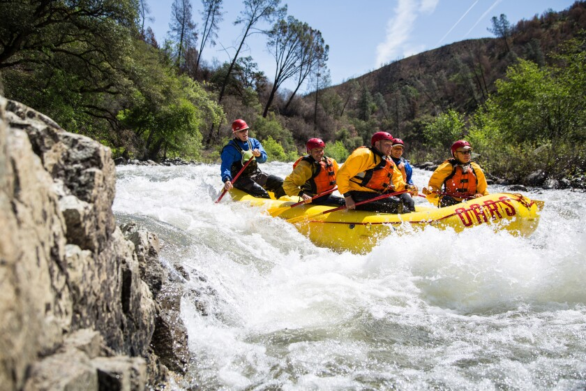 Spring rafting on the Tuolumne River near Yosemite through O.A.R.S. rafting company.