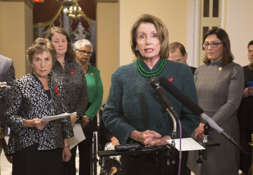 House Minority Leader Nancy Pelosi, center, with from left, Rep. Jan Schakowsky, Rep. Diana DeGette, Rep. Bonnie Watson Coleman and Rep. Suzan DelBene.