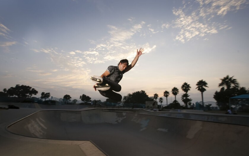 """Nick Riggle, at the Ocean Beach Skate Park, is a former X Games skater and the author of """"On Being Awesome: A Unified Theory of How Not to Suck."""" (Howard Lipin/San Diego Union-Tribune)"""