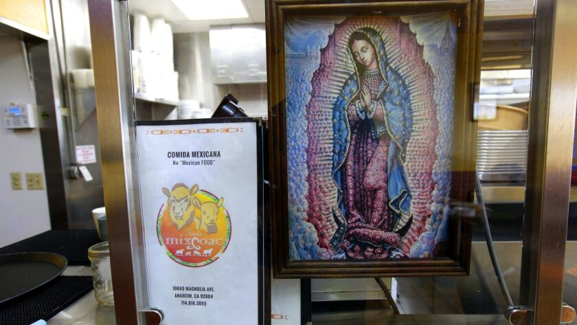 ANAHEIM, CA., MARCH 29, 2019 --Atmosphere and patrons of Fonda Mixcoac, a small Mexican restaurant i