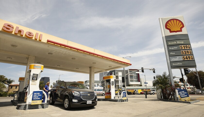LOS ANGELES, CA - APRIL 15, 2019 - A Shell Gas Station at the intersection of South Fairfax Ave, San
