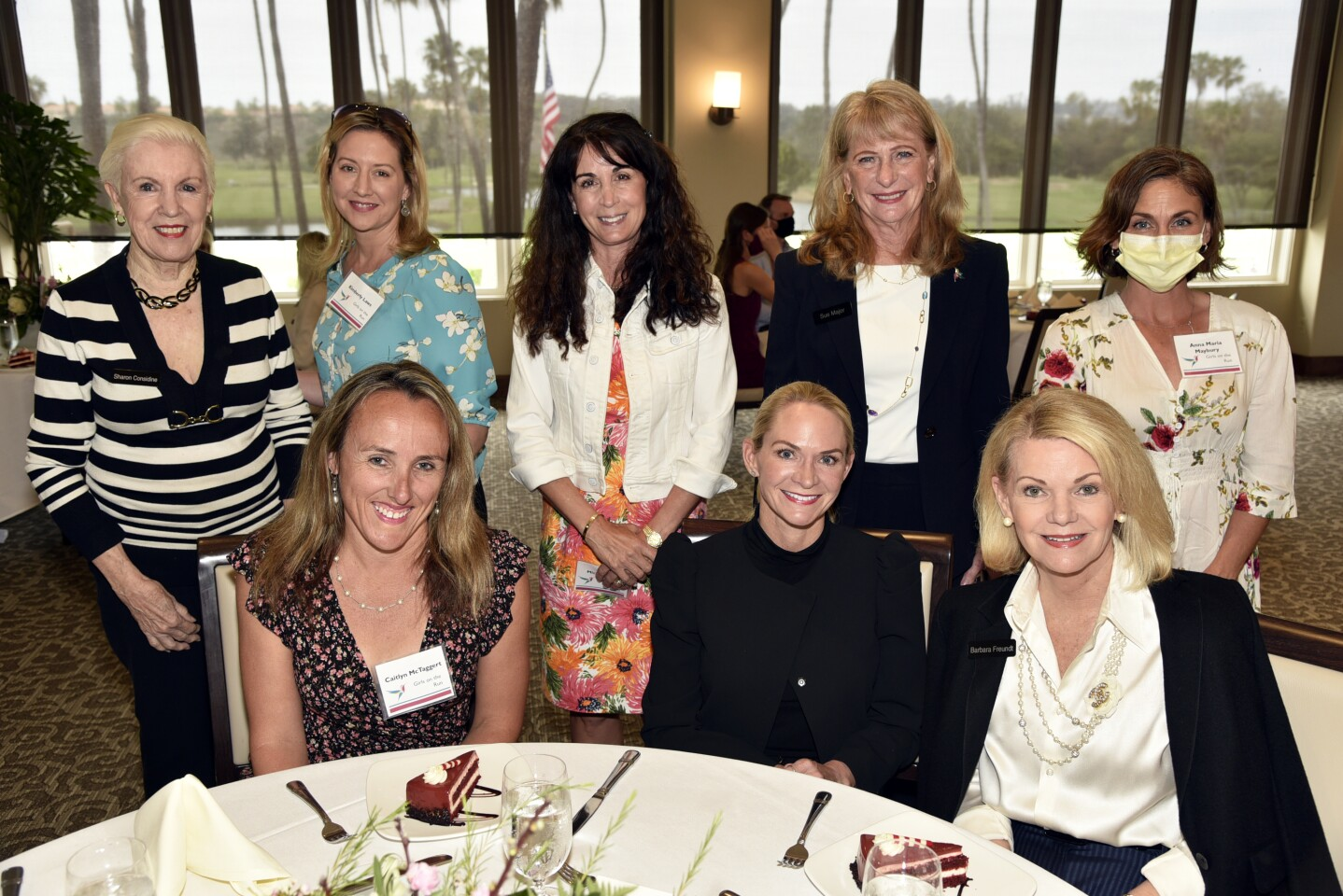 Sharon Considine. Kimberly Laws of grantee Girls on the Run, Michelle Pius of grantee Fresh Start Surgical Gifts, Sue Major, Anna Maria Maybury of grantee Girls on the Run. Seated: Caitlyn McTaggert of grantee Girls on the Run, McCall Pinnell, Barbara Freundt