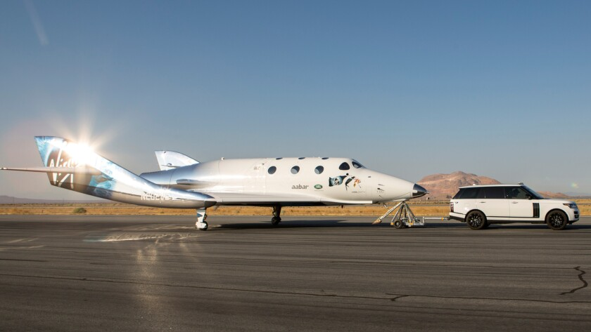 Virgin Galactic's SpaceShipTwo at a taxi test Aug. 1 in Mojave.