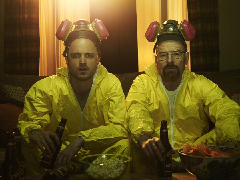 "Jesse Pinkman (Aaron Paul) and Walter White (Bryan Cranston) in Season 5 of ""Breaking Bad."""