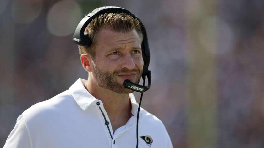 Coach Sean McVay on Sunday leads the Rams against the Washington Redskins, with whom he spent seven seasons as an assistant coach.