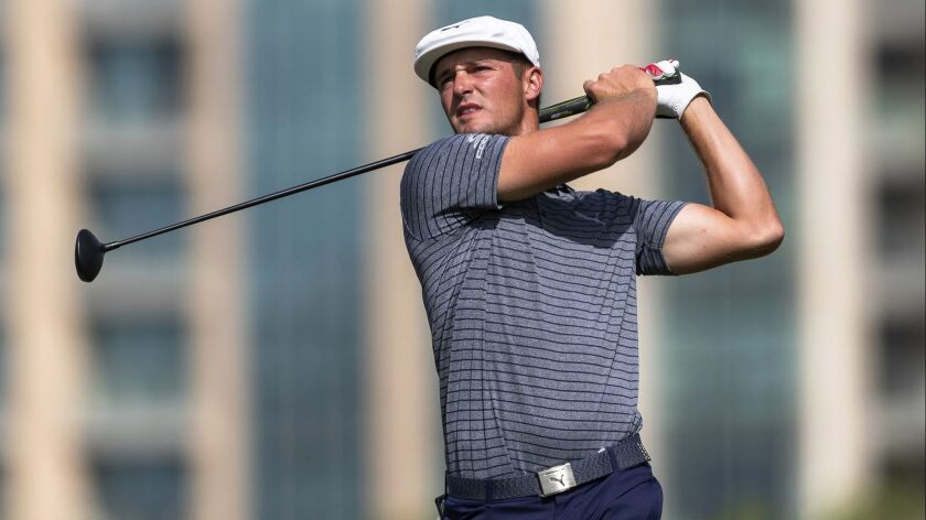Bryson Dechambeau tees off at No. 5 during the final round of the Dubai Desert Classic on Sunday.