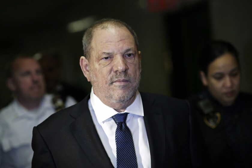 """Harvey Weinstein, seeing entering State Supreme Court on Oct. 11, in New York, will """"continue to defend himself"""" from """"false allegations,"""" his lawyer says."""