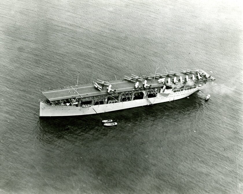 Aircraft Carrier USS Langley at anchor, Christobal, Canal Zone. 3-7-30. OFFICIAL U.S. NAVY PHOTO