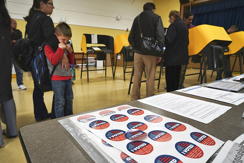 Early voters cast their primary election ballots in Panorama City on March 2.
