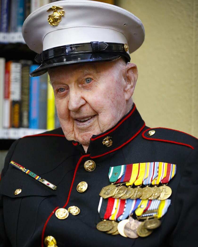 Retired U.S. Marine Corps First Sergeant John Farritor, a veteran of some of the biggest World War II battles in the Pacific, and the Korean War, wore his dress uniform to the party celebrating his 100th birthday, July 9, 2019, at Pacifica Senior Living, in Vista, California where he lives.