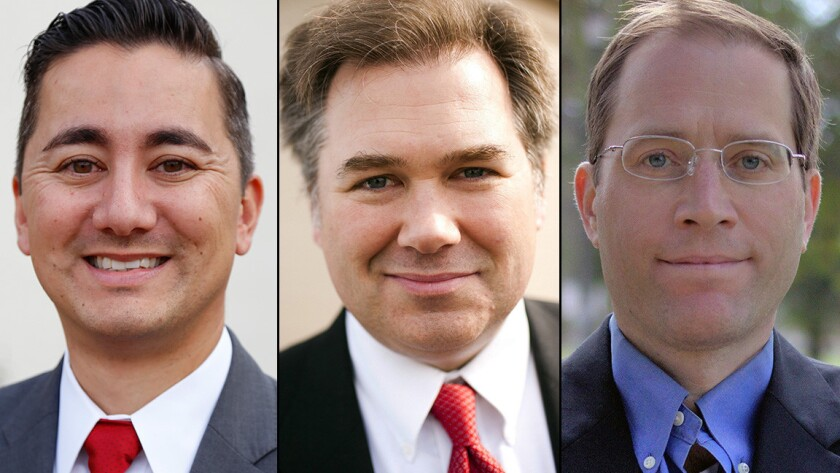 Candidates for San Diego council district 6, from left, Chris Cate, Tommy Hough and Matt Valenti.