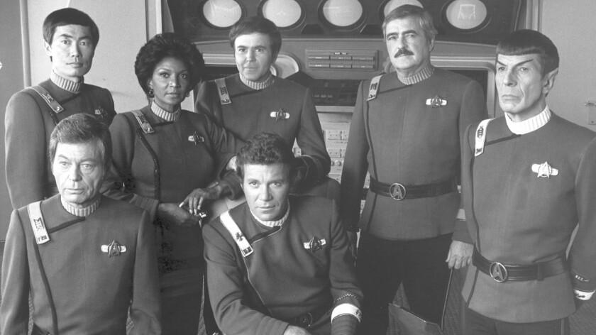 George Takei, left, DeForest Kelley, Nichelle Nichols, Walter Koenig, William Shatner, James Doohan and Leonard Nimoy.