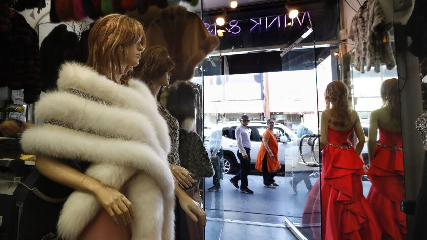 A fox fur stole is displayed in a shop in the Fashion District in downtown Los Angeles.