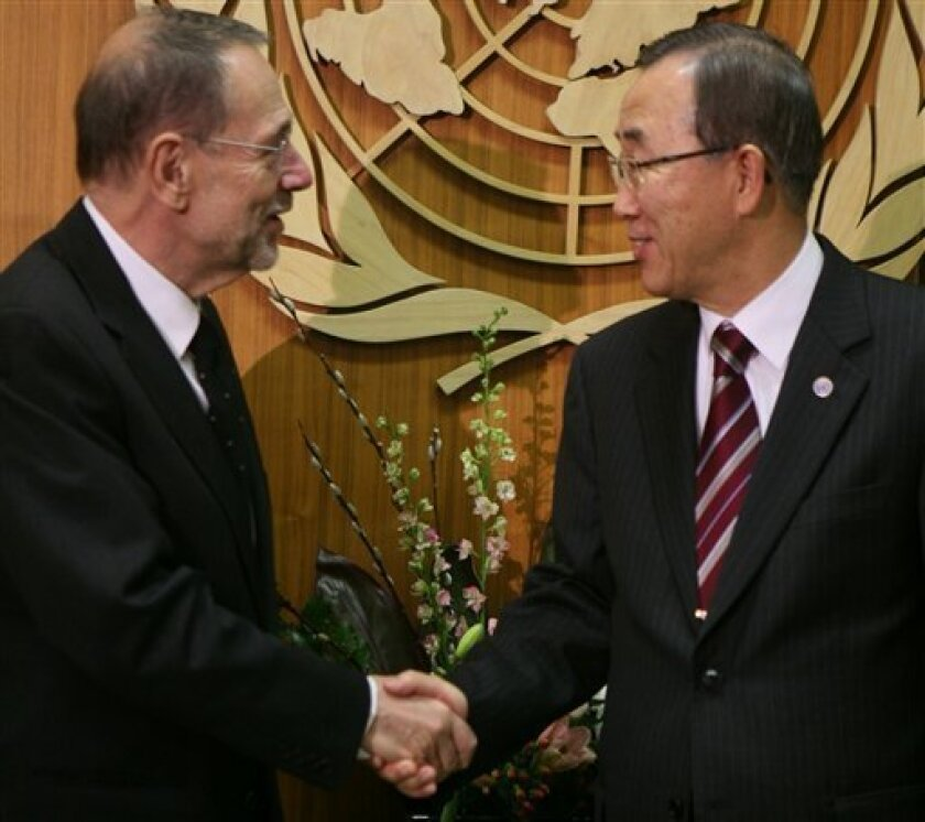 Javier Solana, left, European Union foreign policy chief, meet Ban Ki- Moon, United Nations Secretary General, at the United Nations in New York, Monday Dec. 15, 2008. Solana is a member of the diplomatic group on the Middle East peace process, also known as the Quartet, scheduled to meet at the United Nations under the leadership of Ban Ki-moon. The Middle East Quartet meeting, which includes Russian Foreign Minister Sergey Lavrov and U.S. Secretary of State Condoleezza Rice, comes one day before the UN Security Council meets Tuesday on a draft resolution on the Middle East. (AP Photo)
