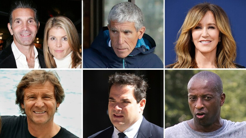 """Clockwise from top left; Mossimo Giannulli and Lori Loughlin; William """"Rick"""" Singer; Felicity Huffma"""