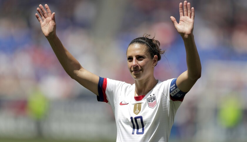 United States midfielder Carli Lloyd is introduced during a send-off ceremony ahead of the FIFA Wome