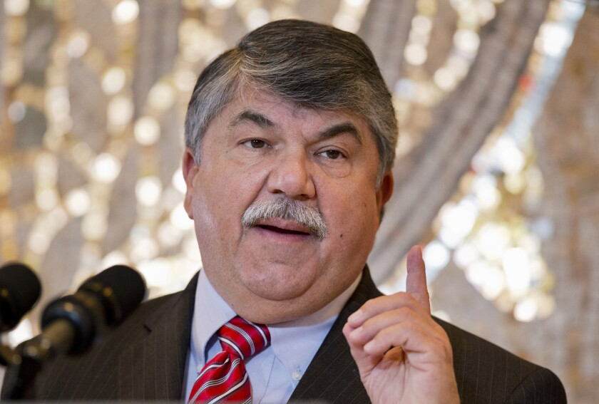 """""""President Obama is right in his commitment to vetoing this harmful legislation,"""" said AFL-CIO President Richard Trumka. """"Congressional Republicans should focus their efforts on lifting workers up instead of shutting them out."""" Above, Trumka speaks in Washington last year."""