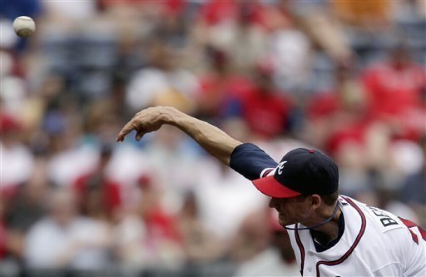 Atlanta Braves pitcher Brandon Beachy throws a pitch in the second inning of a baseball game against the Philadelphia Phillies Saturday, April 9, 2011 in Atlanta. (AP Photo/David Goldman)