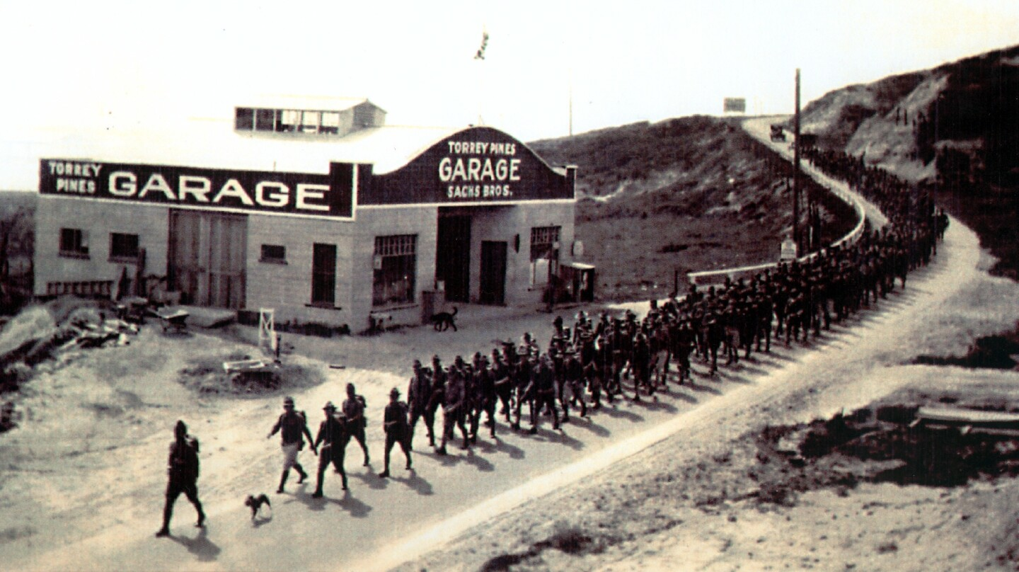 Troops marching by Del Mar