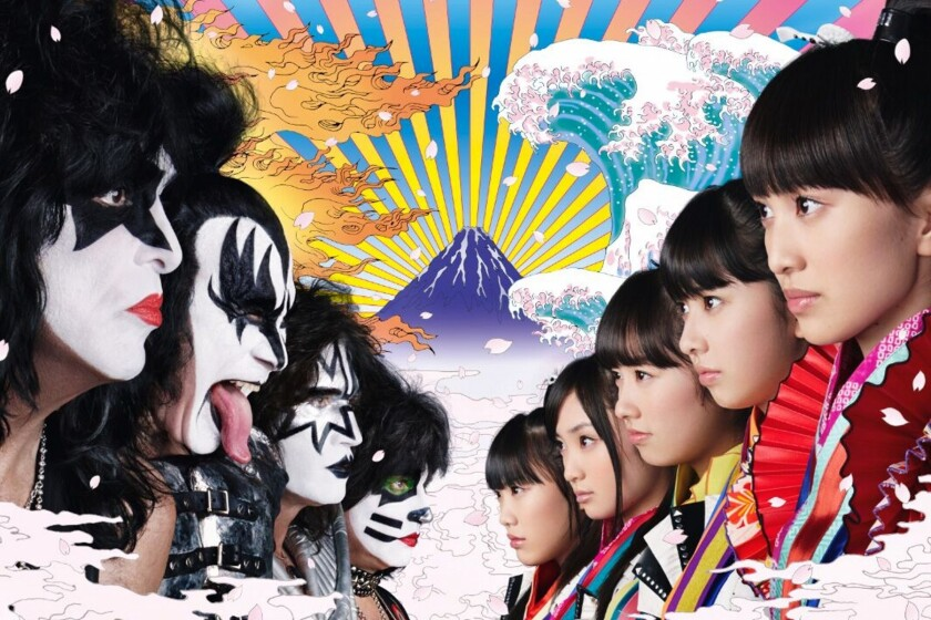 "KISS, left, will receive the 2015 Commissioner's Award from Japan's International Short Shorts Asian Film Festival for the music video the group produced in 2014 titled ""Samurai Son,"" in which the band appears with MCZ, right. The image is from a 2015 Japanese postage stamp."