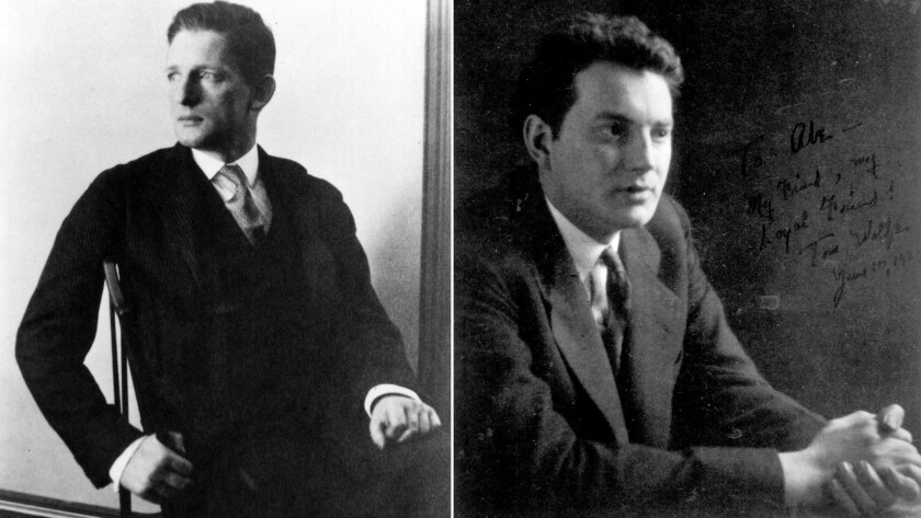 The real Maxwell Perkins, left, and author Thomas Wolfe, right