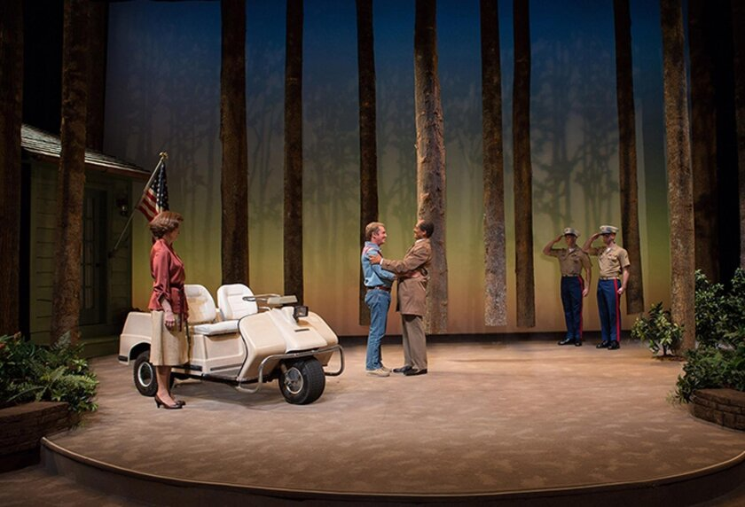 Hallie Foote as Rosalynn Carter, Richard Thomas as Jimmy Carter and Khaled Nabawy as Anwar Sadat with Will Beckstrom and Will Hayes in Camp David at Arena Stage, 2014. The West Coast premiere of Lawrence Wright's Camp David, May 13 to June 19, at The Old Globe Theatre.