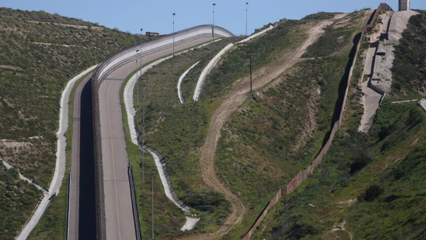 A view of a section of the wall separating Mexico and the United States, in Tijuana, Mexico, March 6