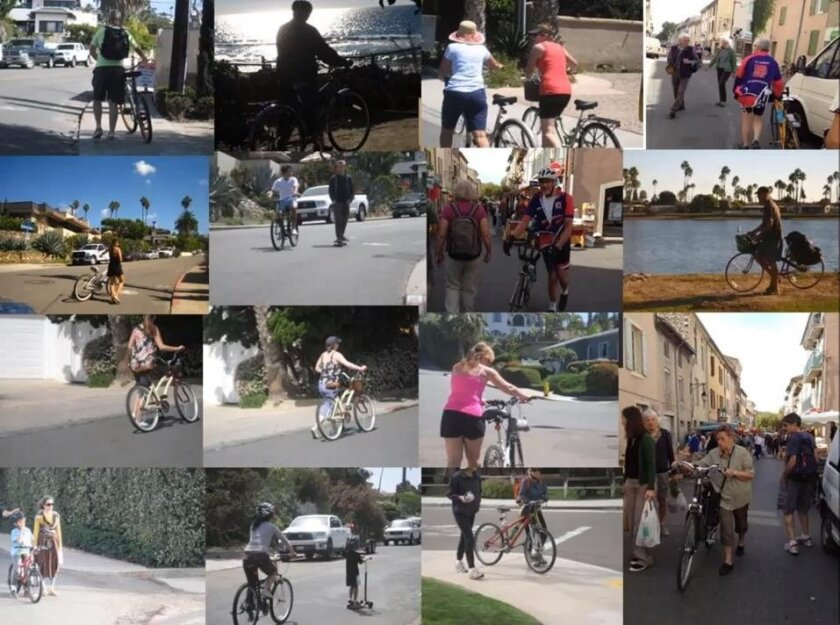 A slide from Sandie Linn's 2015 photo project on bicycling, of people walking their bikes