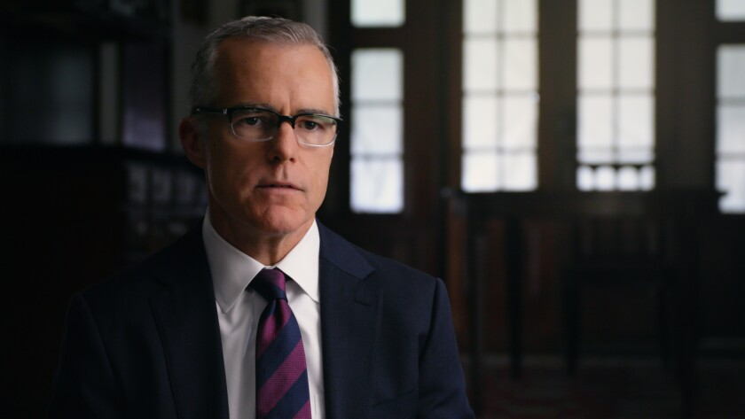 """This image released by HBO shows Andrew McCabe in a scene from the documentary """"Agents of Chaos."""" (HBO via AP)"""